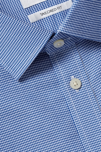 Moss 1851 Tailored Fit Navy Double Cuff Dogtooth Zero Iron Shirt