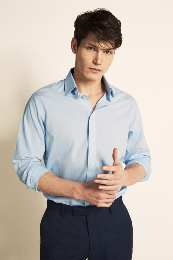 Moss 1851 Tailored Fit Sky Blue Single Cuff Poplin Zero Iron Shirt