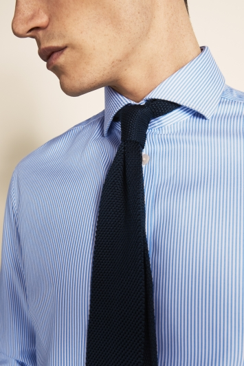 Tailored Fit Blue Stripe Zero Iron Shirt