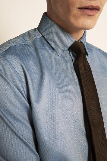 Moss 1851 Tailored Fit Navy Single Cuff Textured Zero Iron Shirt