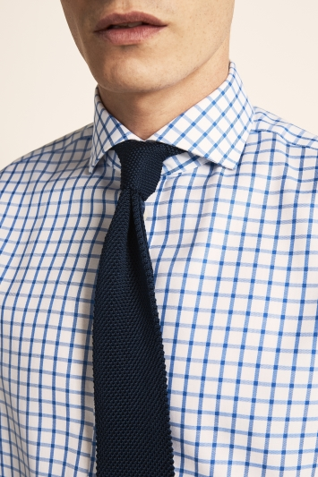 Moss 1851 Tailored Fit Blue Single Cuff Twill Check Zero Iron Shirt