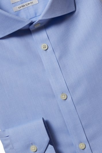 Moss London Premium Extra Slim Fit Blue Single Cuff Twill Zero Iron Shirt