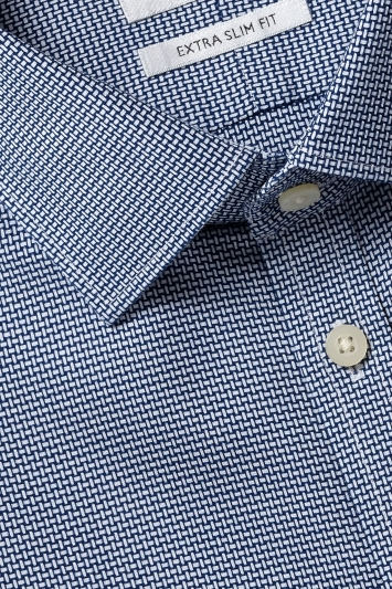 Moss London Premium Extra Slim Fit Navy Single Cuff Dobby Check Zero Iron Shirt