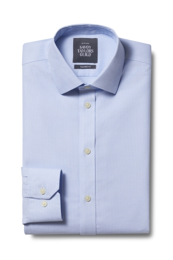 Savoy Taylors Guild Tailored Fit Sky Blue Single Cuff Honeycomb Texture Non Iron Shirt