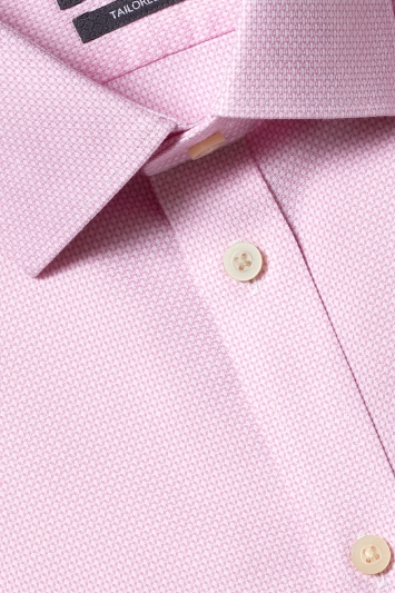 Savoy Taylors Guild Tailored Fit Pink Single Cuff Honeycomb Texture Non Iron Shirt