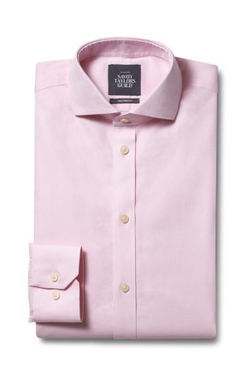 Savoy Taylors Guild Tailored Fit Pink Single Cuff Twill Non Iron Shirt