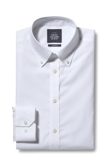 Savoy Taylors Guild Tailored Fit White Button Down Poplin Non Iron Shirt
