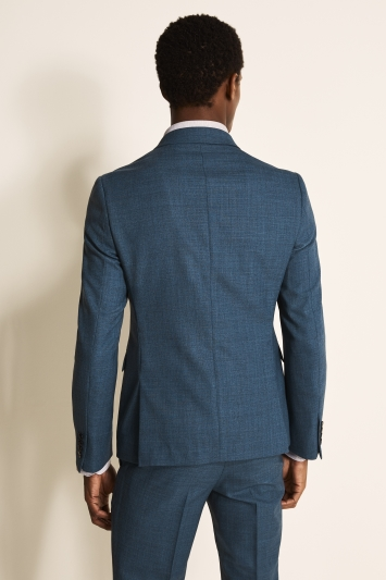 DKNY Slim Fit Summer Blue Texture Double Breasted Jacket