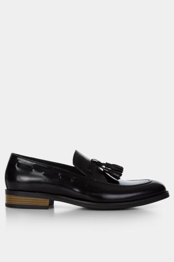 John White Nile Black Tassel Loafer Shoe