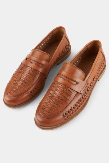 Moss London Ashwick Tan Leather Lattice