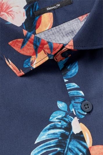 Moss London Skinny Fit Navy Single Cuff Tropical Print Shirt