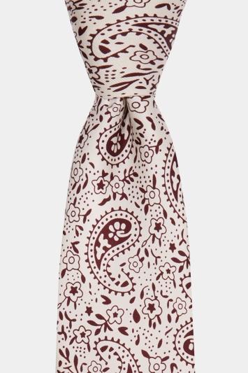 Moss 1851 White & Burgundy Paisley Print Tie