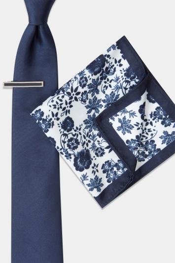 Navy Floral Tie, Hank & Tie Bar Set