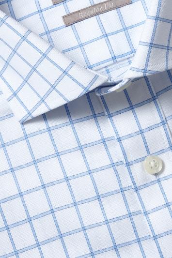 Savoy Taylors Guild Regular Fit Blue Single Cuff Grid Check Shirt