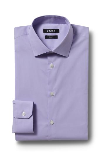 DKNY Slim Fit Lilac Single Cuff Stretch Shirt