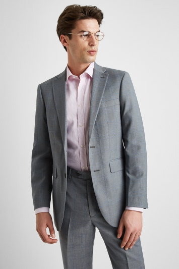 Moss Esq. Regular Fit Light Grey with Blue Prince of Wales Check Jacket