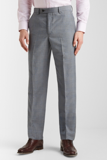 Moss Esq. Regular Fit Light Grey with Prince Of Wales Check Trousers