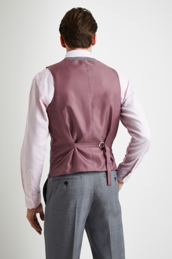 Moss Esq. Regular Fit Light Grey with Blue Prince of Wales Check Waistcoat