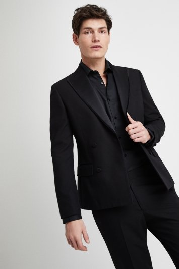 Moss London Slim Fit Black Double Breasted Dress Jacket
