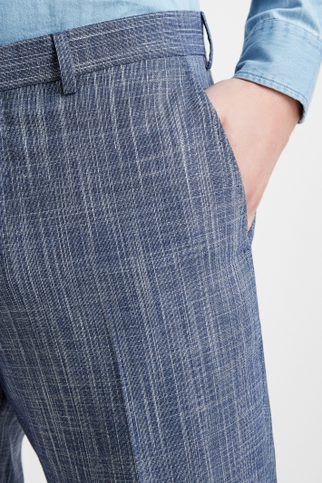 Ermenegildo Zegna Cloth Tailored Fit Summer Blue Texture Trouser