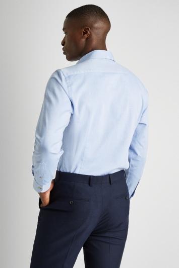 Moss 1851 Tailored Fit Blue Single Cuff Textured Shirt