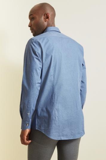 Moss 1851 Tailored Fit Blue Single Cuff Melange Check Shirt