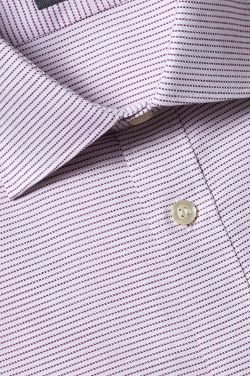 Savoy Taylors Guild Tailored Fit Purple Single Cuff Textured Dobby Shirt