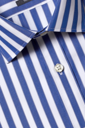 Savoy Taylors Guild Tailored Fit Blue Single Cuff Wide Bengal Shirt