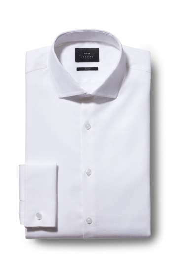 Slim Fit White Double Cuff Textured Stretch Shirt
