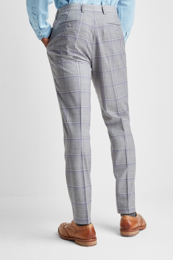 Ted Baker Slim Fit Grey with Lilac Check Trousers
