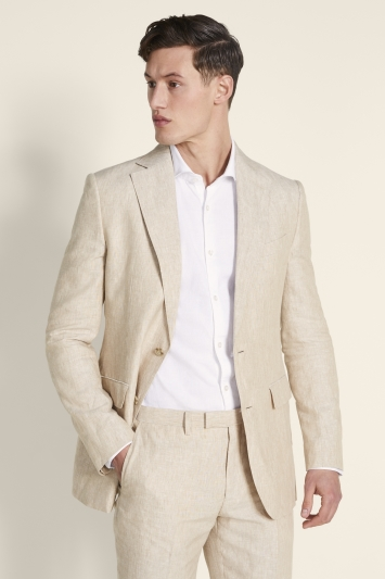 Tailored Fit Stone Linen Jacket