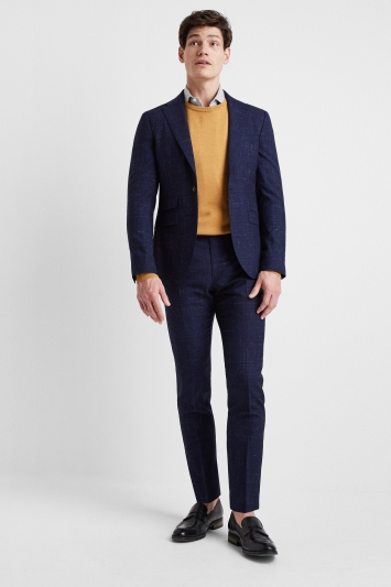 Moss London Premium Slim Fit Blue Scratch Check Lightweight Jacket