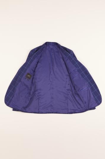Moss London Slim Fit Blue Check Jacket