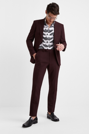 Moss London Slim Fit Burgundy Jacket