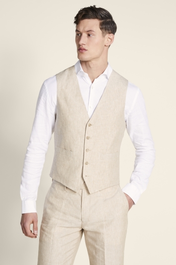 Moss 1851 Tailored Fit Stone Linen Waistcoat