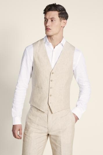 Moss 1851 Tailored Fit Stone Linen Waistcoat