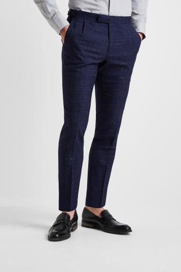 Moss London Premium Slim Fit Blue Scratch Check Trousers