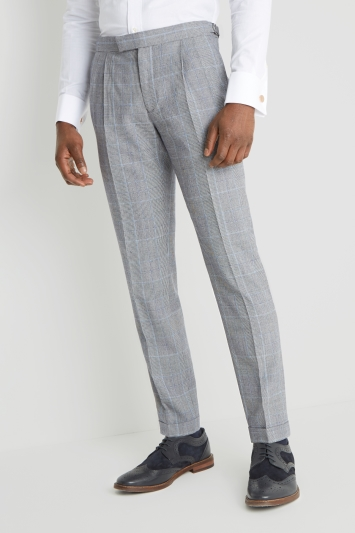 Moss London Premium Skinny Fit Black and White Blue Check Trousers
