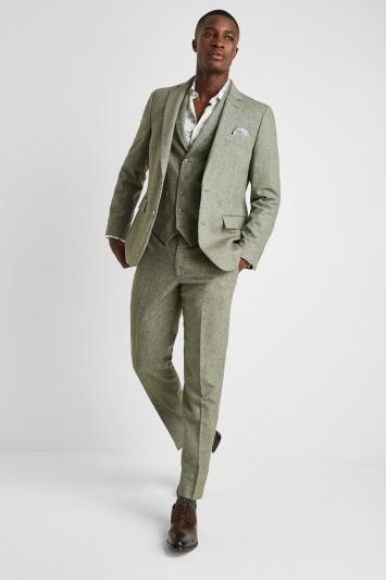 Moss London Tailored Fit Sage Herringbone Tweed Jacket