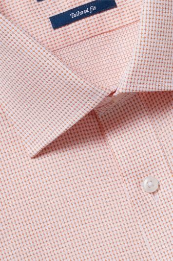 Moss 1851 Tailored Fit Orange Single Cuff Textured Shirt