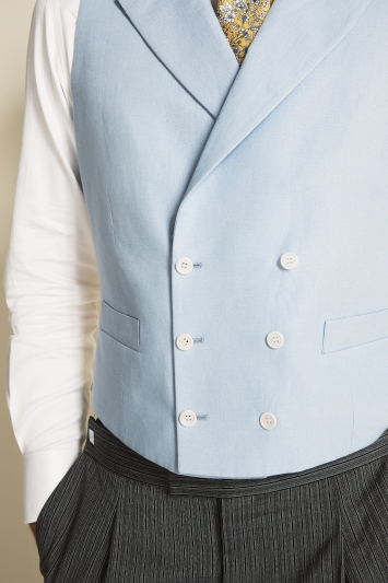 Moss Covent Garden Tailored Fit Sky Linen Double Breasted Waistcoat