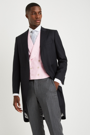 Moss Covent Garden Tailored Fit Pink Linen Double Breasted Waistcoat