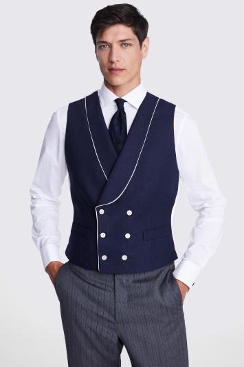Tailored Fit Navy Linen Waistcoat
