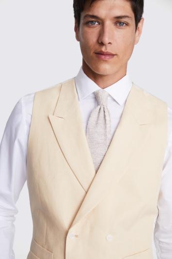 Tailored Fit Yellow Linen Waistcoat