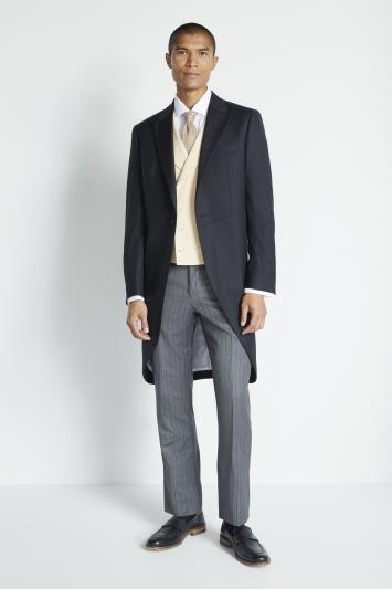 Moss Covent Garden Tailored Fit Black Herringbone Morning Coat
