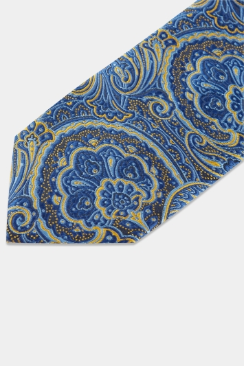 Moss London Navy & Yellow Mid-Size Paisley Tie