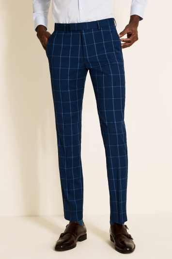Moss London Slim Fit Blue Check Trousers