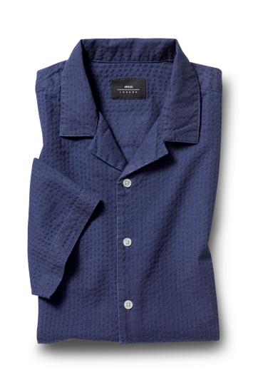 Moss London Casual Navy Short Sleeve Seersucker Shirt
