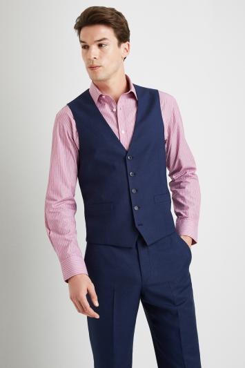 Moss Esq Regular Fit Blue Semi Plain Waistcoat