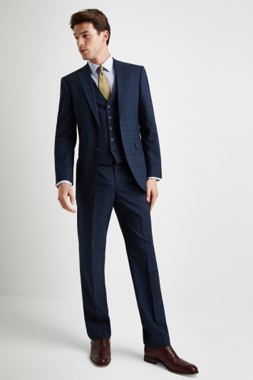 Moss Esq Regular Fit Navy Blue Prince of Wales Check Mens Suit Trousers